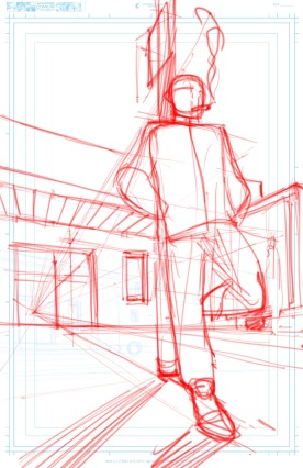 Title Page Sketch Leaning on Sign